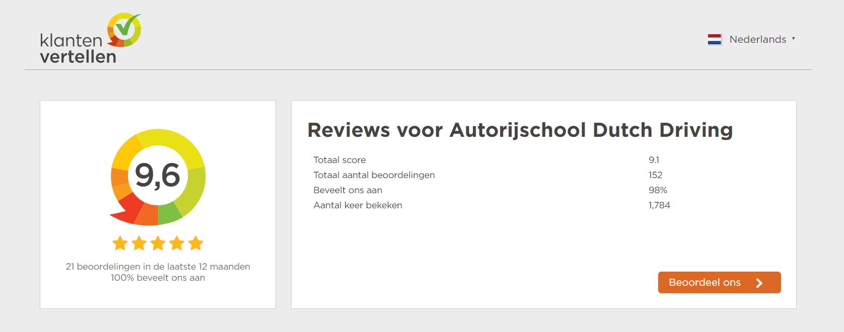 hoge waardering Dutch Driving